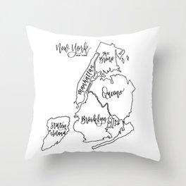 NYC Boroughs Throw Pillow