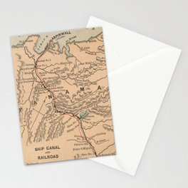 Vintage Map of The Panama Canal (1885) Stationery Cards