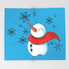 Snowmen and Snowflakes Throw Blanket