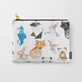 Cute Hand Drawn Geometric Paper Origami Animals Carry-All Pouch