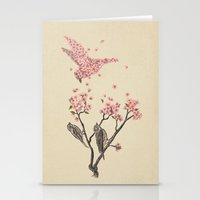 pink floyd Stationery Cards featuring Blossom Bird  by Terry Fan