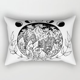 Moon Phases over Mountains Rectangular Pillow