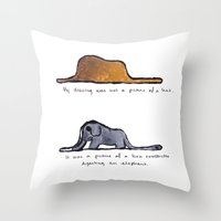 le petit prince Throw Pillows featuring Monoprinting Le Petit Prince by Devin Sullivan