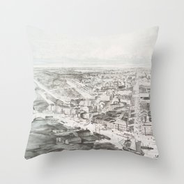 Vintage Pictorial Map of Buffalo NY (1853) Throw Pillow