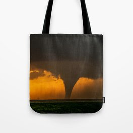 Silhouette - Large Tornado at Sunset in Kansas Tote Bag