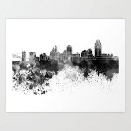 Cincinnati skyline in black watercolor Art Print