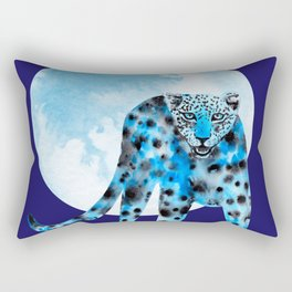 Ink leopard on blue Rectangular Pillow