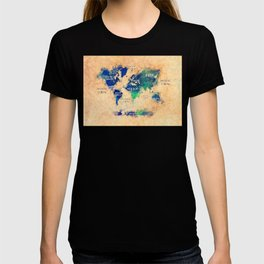 world map oceans and continents 4 T-shirt