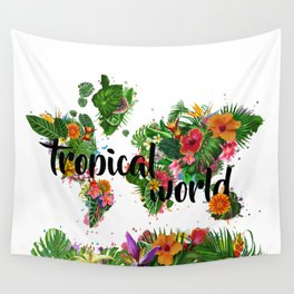world map tropical vibes 2 Wall Tapestry