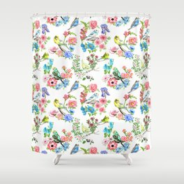 Budgies and Blooms Shower Curtain