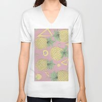 pineapples V-neck T-shirts featuring Pineapples by homotrippin