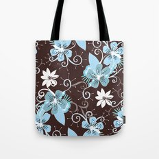 Summer blossom, brown and blue pattern Tote Bag