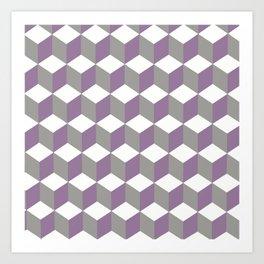 Diamond Repeating Pattern In Crocus Purple and Grey Art Print