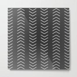 Mudcloth Black white arrows Metal Print