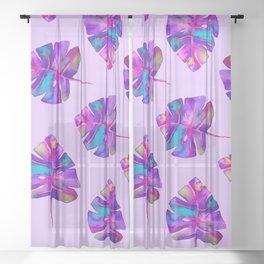 Magical Monstera Purple Sheer Curtain