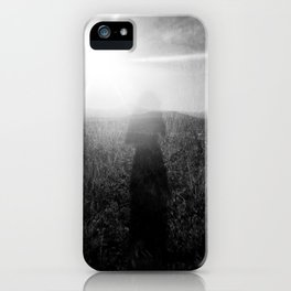 Sunlight, Shadows and Self-reflection in Black and White - Film Double Exposure Photograph iPhone Case