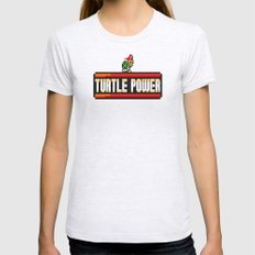 Turtle Power Womens Fitted Tee LARGE Ash Grey
