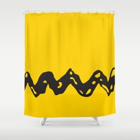 charlie brown Shower Curtains featuring Good Grief Charlie Brown! by craigomatic