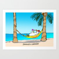 jamaica Art Prints featuring jamaica chicken  by GUNGA