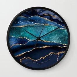 Blue Night Galaxy Marble Wall Clock