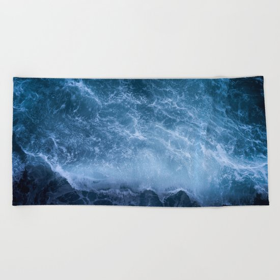 Waves from above Beach Towel
