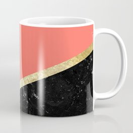 Living Coral, White, Black Marble and Gold Stripes Glam #1 #minimal #decor #art #society6 Coffee Mug