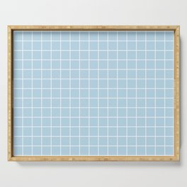 Columbia Blue - heavenly color - White Lines Grid Pattern Serving Tray