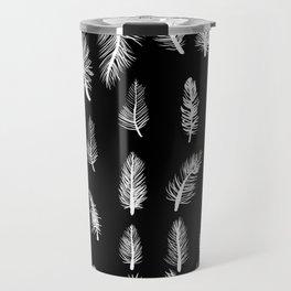 Feather Pattern Gothic Witch Pattern Black & White Travel Mug