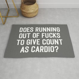 Running Out Of Fucks Cardio Gym Quote Rug
