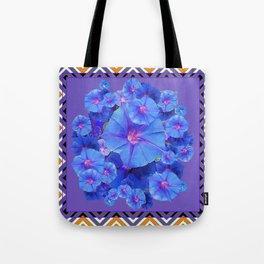 Purple Western Pattern Blue Morning Glory Floral Art Tote Bag