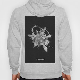 London, United Kingdom Black and White Skyround / Skyline Watercolor Painting (Inverted Version) Hoody