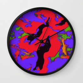 Meander red Wall Clock