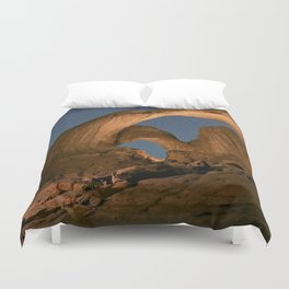 Double Arch And The Milky Way - Arches National Park - Moab, Utah. Duvet Cover