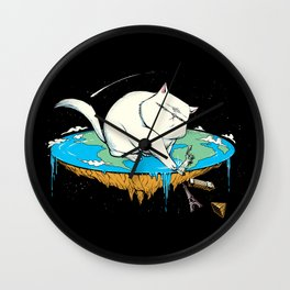 Flat Earth Cat Wall Clock