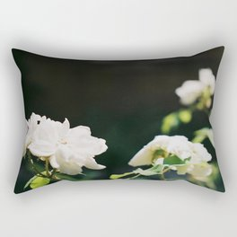 White Florals Flowers Against A Dark Background Negative Space Composition Rectangular Pillow