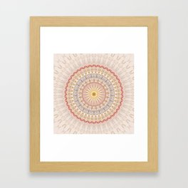 Beige Red Gold Mandala Framed Art Print