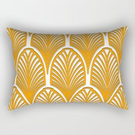 Orange,white,art deco, vintage,fan pattern, art nouveau, vintage, Rectangular Pillow