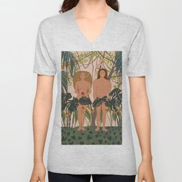 two people and an apple Unisex V-Neck