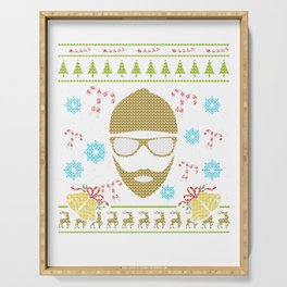 Hipster Christmas Ugly Sweater Design Shirt Serving Tray