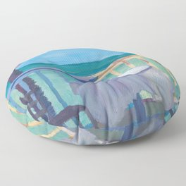 Seaview Cafe Table at the Caribbean With Palm Floor Pillow