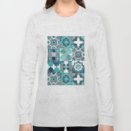 Spanish moroccan tiles inspiration // turquoise green silver lines Long Sleeve T-shirt
