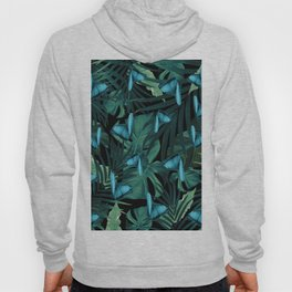 Tropical Butterfly Jungle Night Leaves Pattern #5 #tropical #decor #art #society6 Hoody