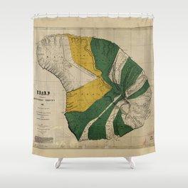 Map of Lanai, Hawaiian Island (1900) Shower Curtain