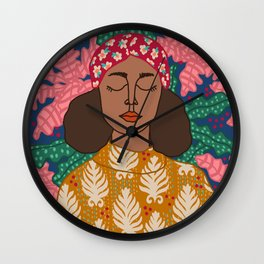 Portrait Of a Woman and Patterns Wall Clock