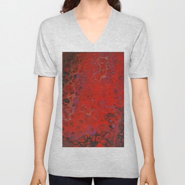 Acrylic Pour - Red Black Purple Gold Unisex V-Neck