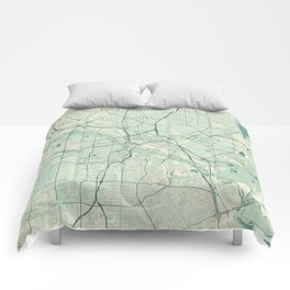 Dallas Map Blue Vintage Comforters