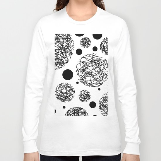 Scribbles - Black and white scribbles and black circles pattern on white Long Sleeve T-shirt