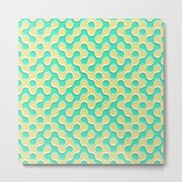 Yellow Deep Sea Green Truchet Tilling Pattern Metal Print