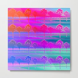Tropical Beach Pattern (purple and turquoise) Metal Print