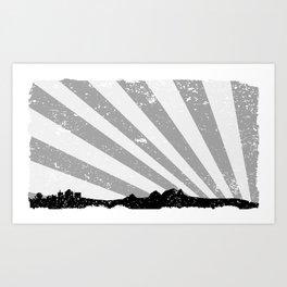 Town Silhouette Grey Grunge Art Print